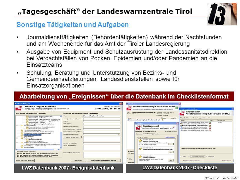 """""""Tagesgeschäft der Landeswarnzentrale Tirol"""