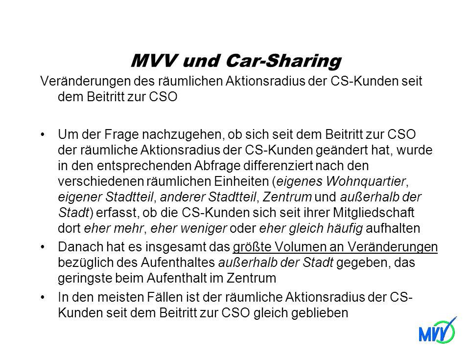MVV und Car-Sharing Veränderungen des räumlichen Aktionsradius der CS-Kunden seit dem Beitritt zur CSO.