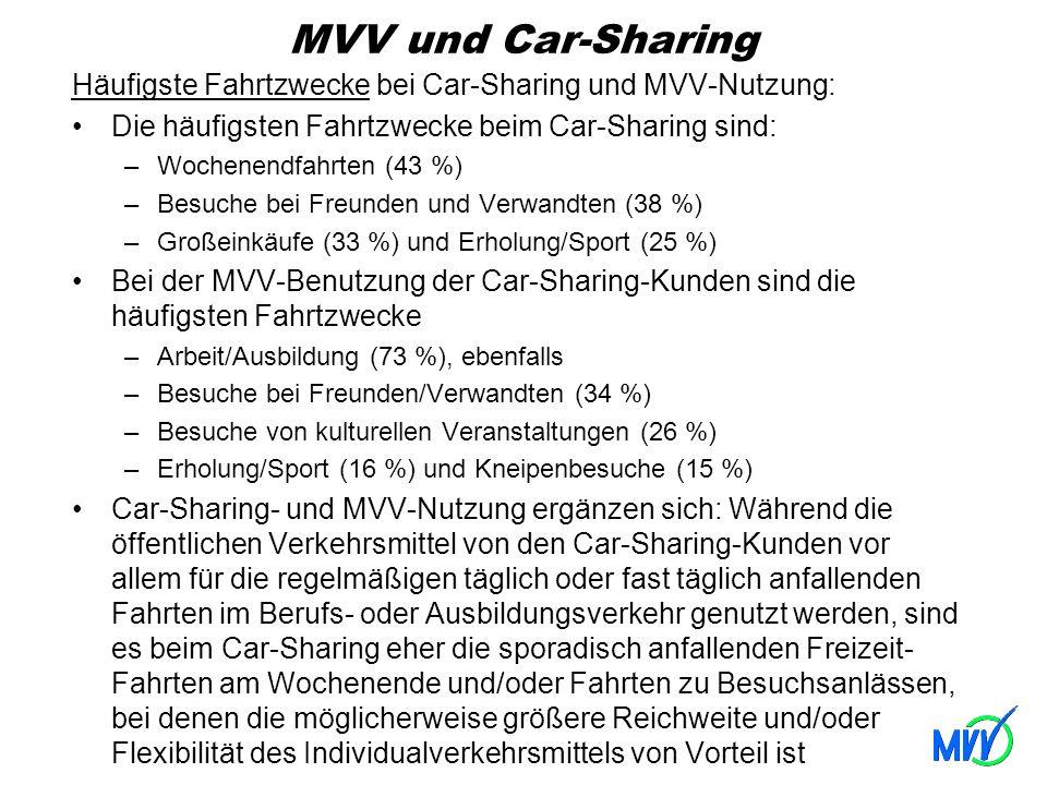MVV und Car-Sharing Häufigste Fahrtzwecke bei Car-Sharing und MVV-Nutzung: Die häufigsten Fahrtzwecke beim Car-Sharing sind: