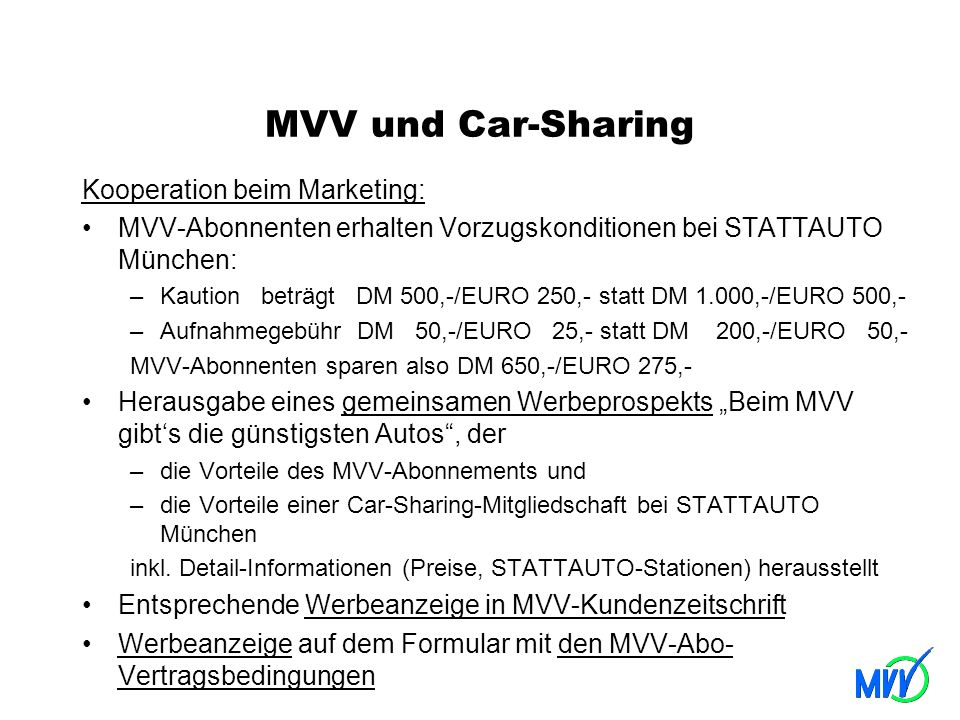 MVV und Car-Sharing Kooperation beim Marketing: