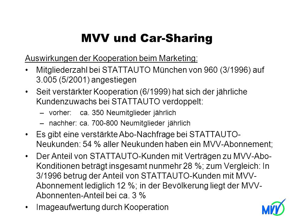 MVV und Car-Sharing Auswirkungen der Kooperation beim Marketing: