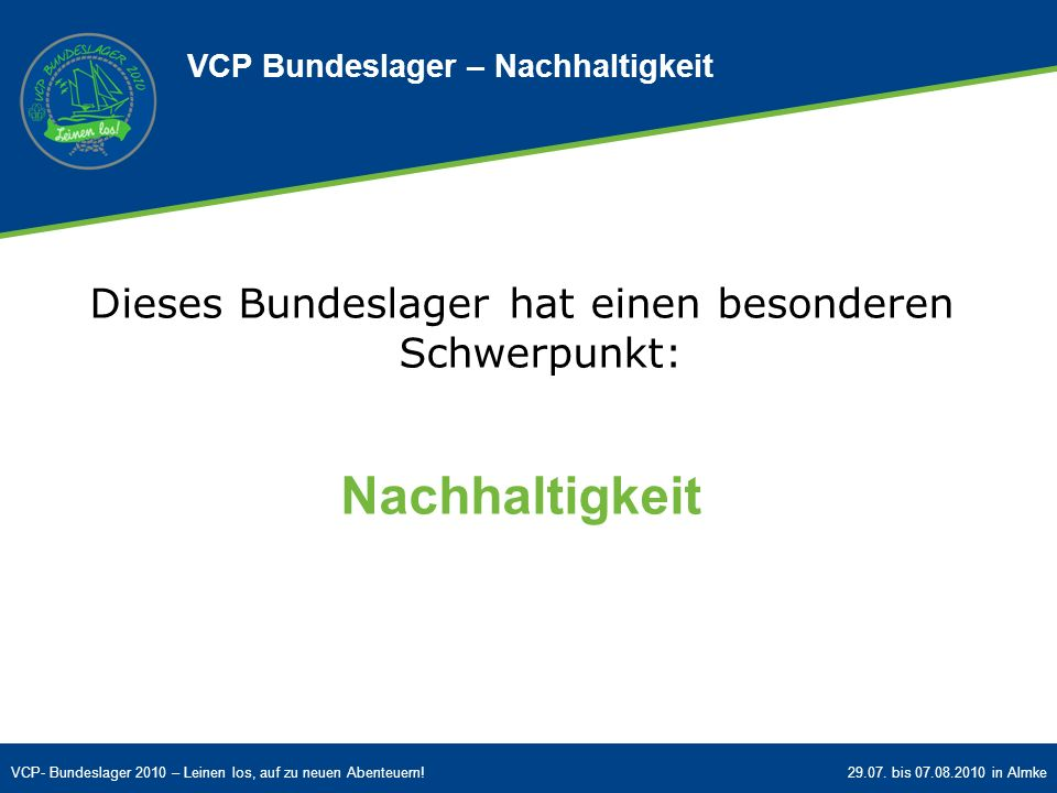VCP Bundeslager – Nachhaltigkeit
