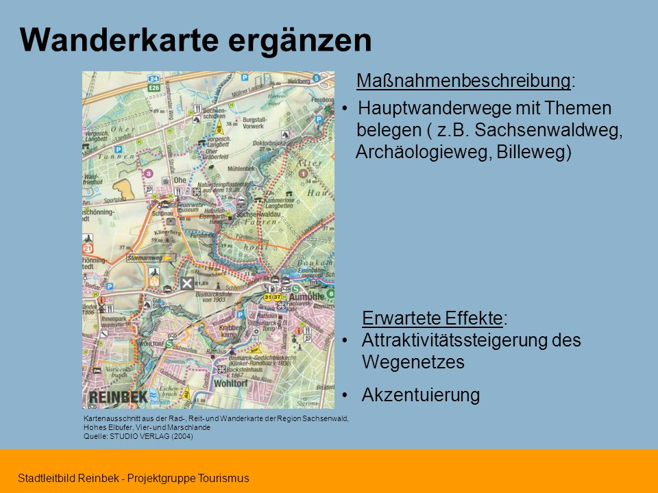 Wanderkarte ergänzen Maßnahmenbeschreibung: Hauptwanderwege mit Themen