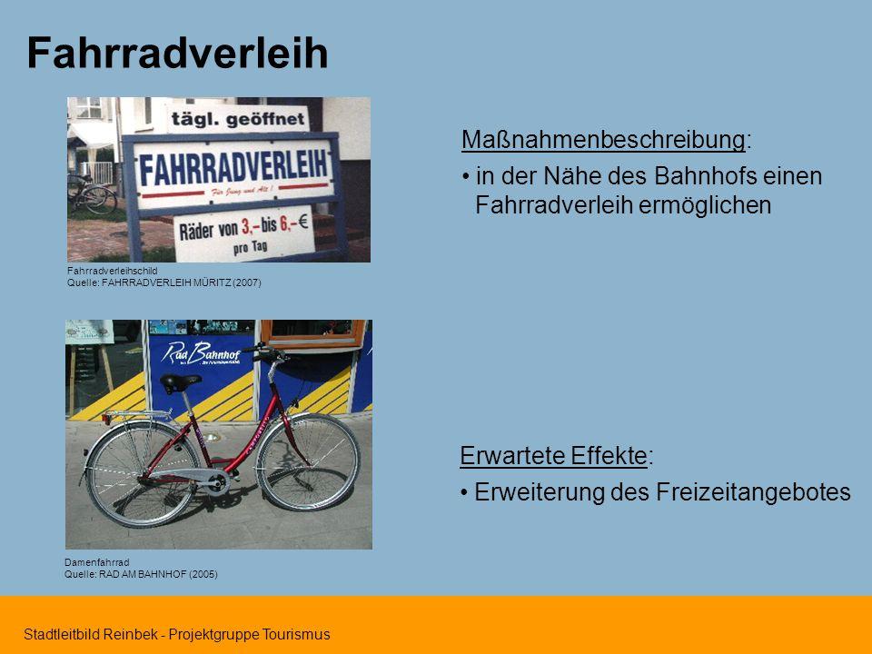 Fahrradverleih Maßnahmenbeschreibung: in der Nähe des Bahnhofs einen