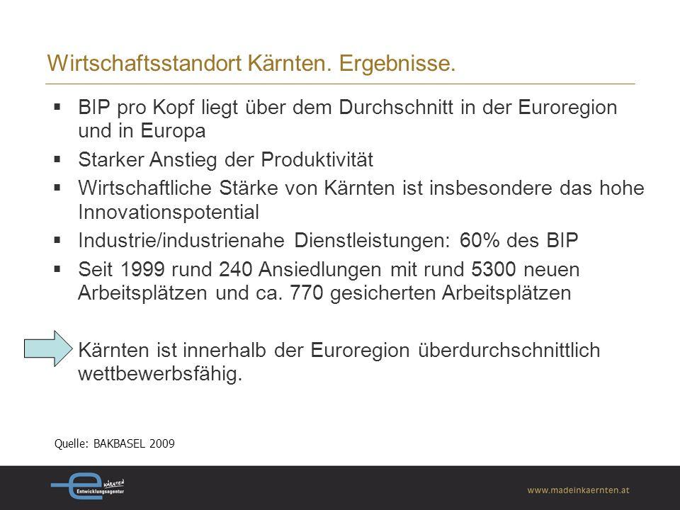 Wirtschaftsstandort Kärnten. Ergebnisse.