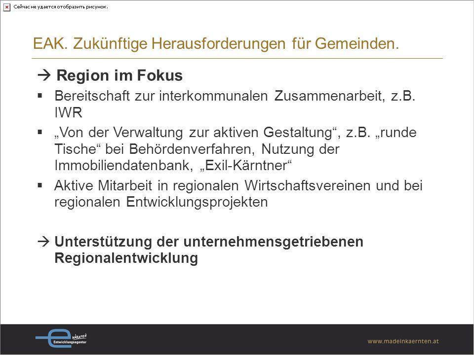 EAK. Zukünftige Herausforderungen für Gemeinden.