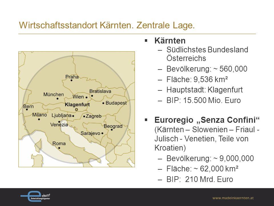 Wirtschaftsstandort Kärnten. Zentrale Lage.