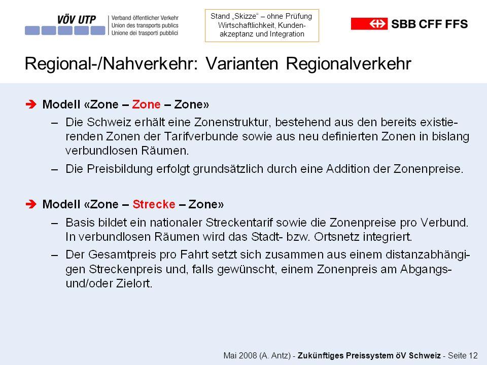 Regional-/Nahverkehr: Varianten Regionalverkehr
