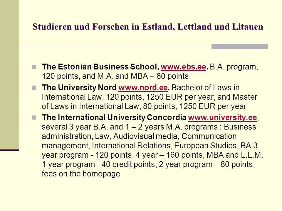 Studieren und Forschen in Estland, Lettland und Litauen