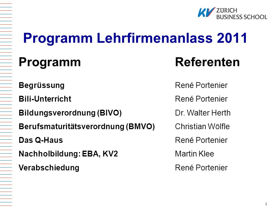 Programm Lehrfirmenanlass 2011