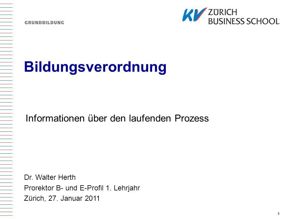 Bildungsverordnung Informationen über den laufenden Prozess