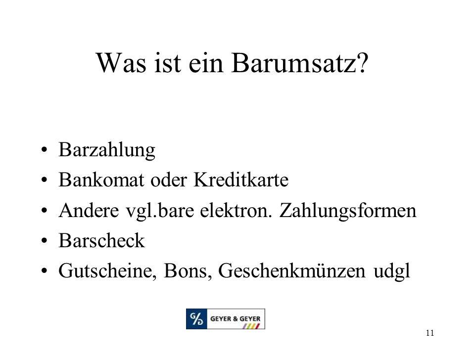 Was ist ein Barumsatz Barzahlung Bankomat oder Kreditkarte