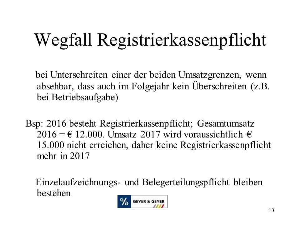 Wegfall Registrierkassenpflicht