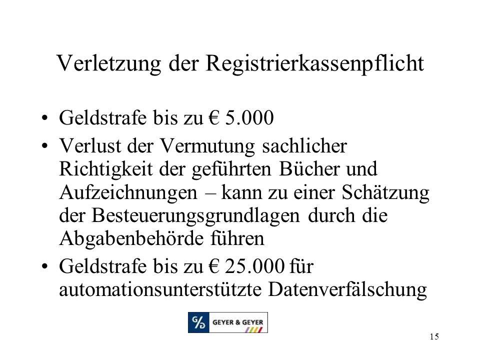 Verletzung der Registrierkassenpflicht