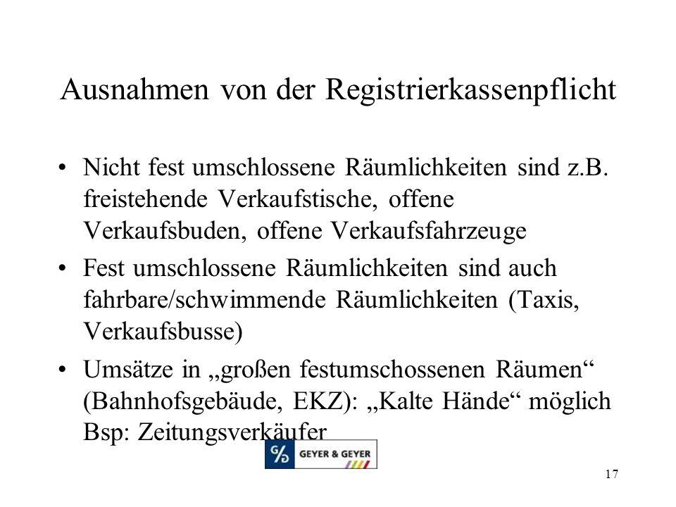 Ausnahmen von der Registrierkassenpflicht