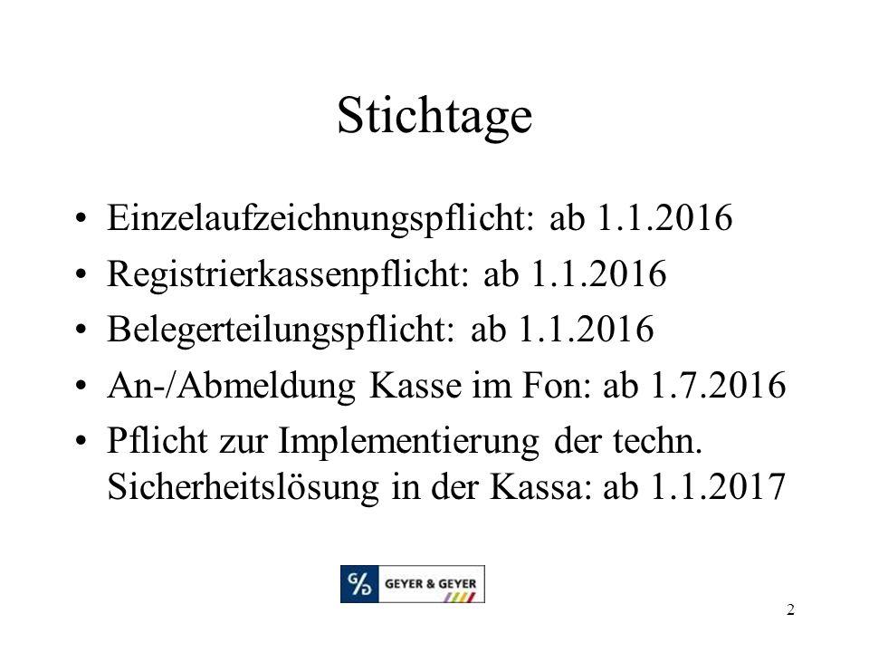 Stichtage Einzelaufzeichnungspflicht: ab 1.1.2016