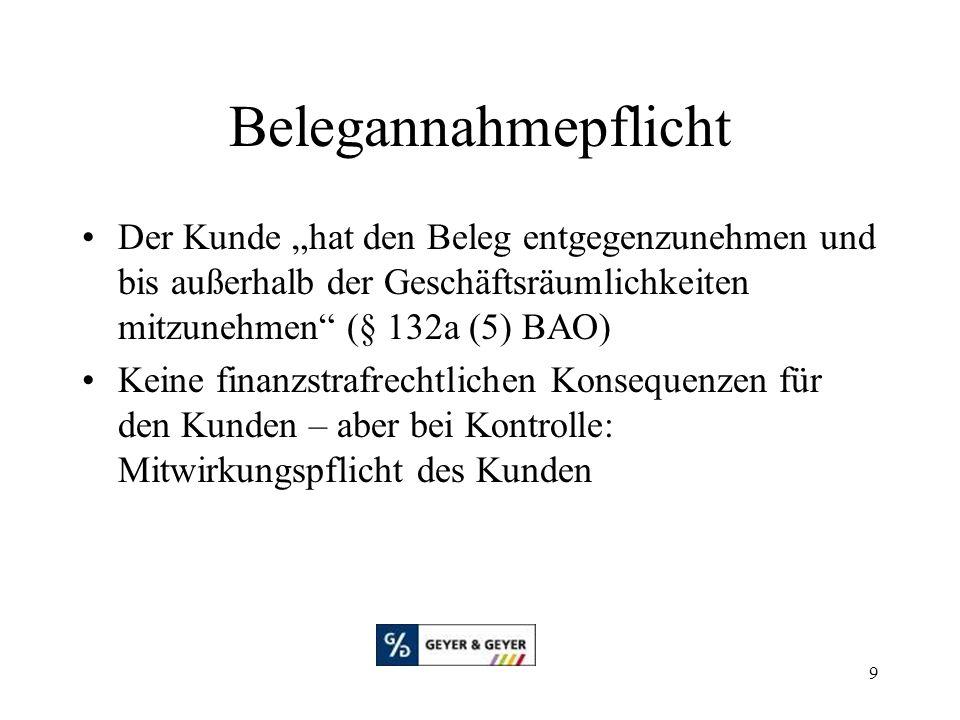 """Belegannahmepflicht Der Kunde """"hat den Beleg entgegenzunehmen und bis außerhalb der Geschäftsräumlichkeiten mitzunehmen (§ 132a (5) BAO)"""