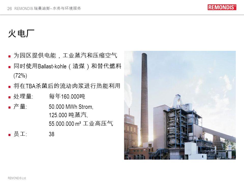 火电厂 为园区提供电能,工业蒸汽和压缩空气 同时使用Ballast-kohle(渣煤)和替代燃料 (72%)