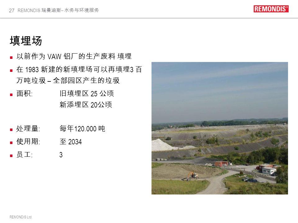 填埋场 以前作为 VAW 铝厂的生产废料 填埋 在 1983 新建的新填埋场可以再填埋3 百万吨垃圾 – 全部园区产生的垃圾