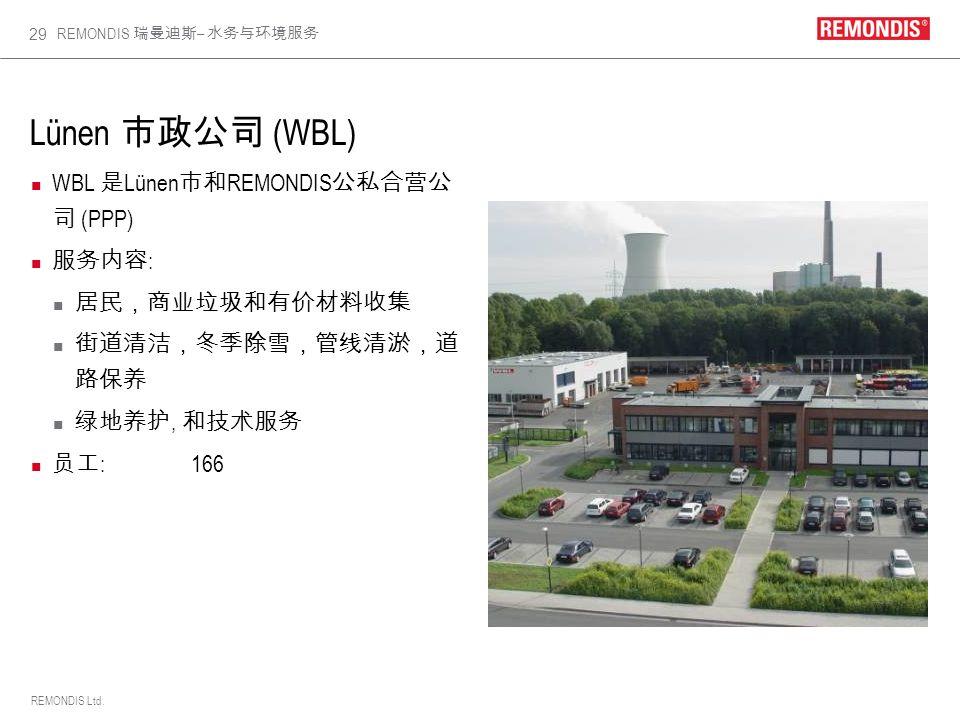 Lünen 市政公司 (WBL) WBL 是Lünen市和REMONDIS公私合营公司 (PPP) 服务内容: 居民,商业垃圾和有价材料收集