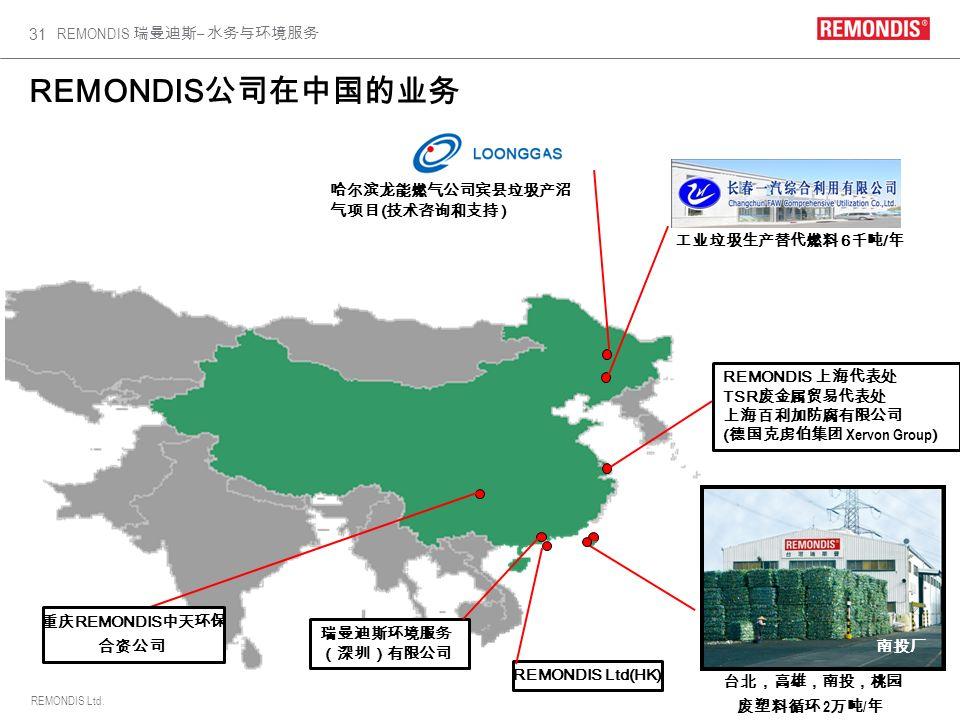 REMONDIS公司在中国的业务 哈尔滨龙能燃气公司宾县垃圾产沼气项目(技术咨询和支持 ) Shanghai