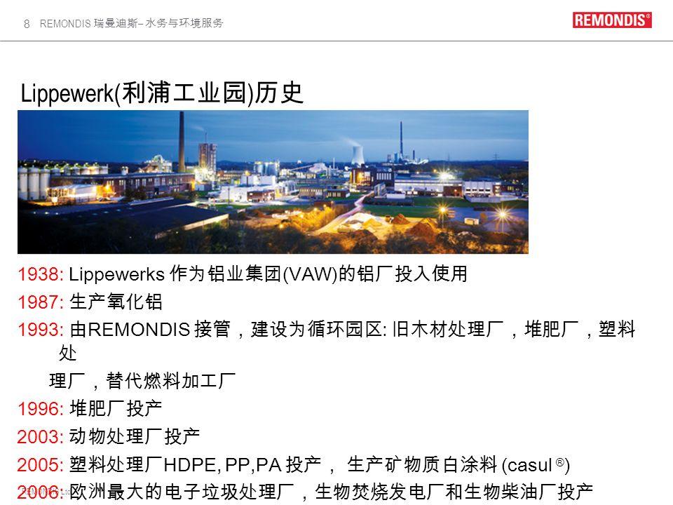 Lippewerk(利浦工业园)历史 1938: Lippewerks 作为铝业集团(VAW)的铝厂投入使用 1987: 生产氧化铝