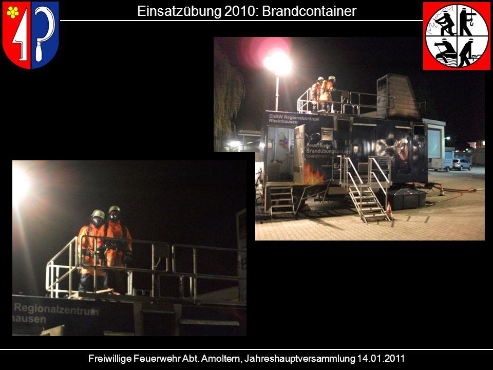 Einsatzübung 2010: Brandcontainer