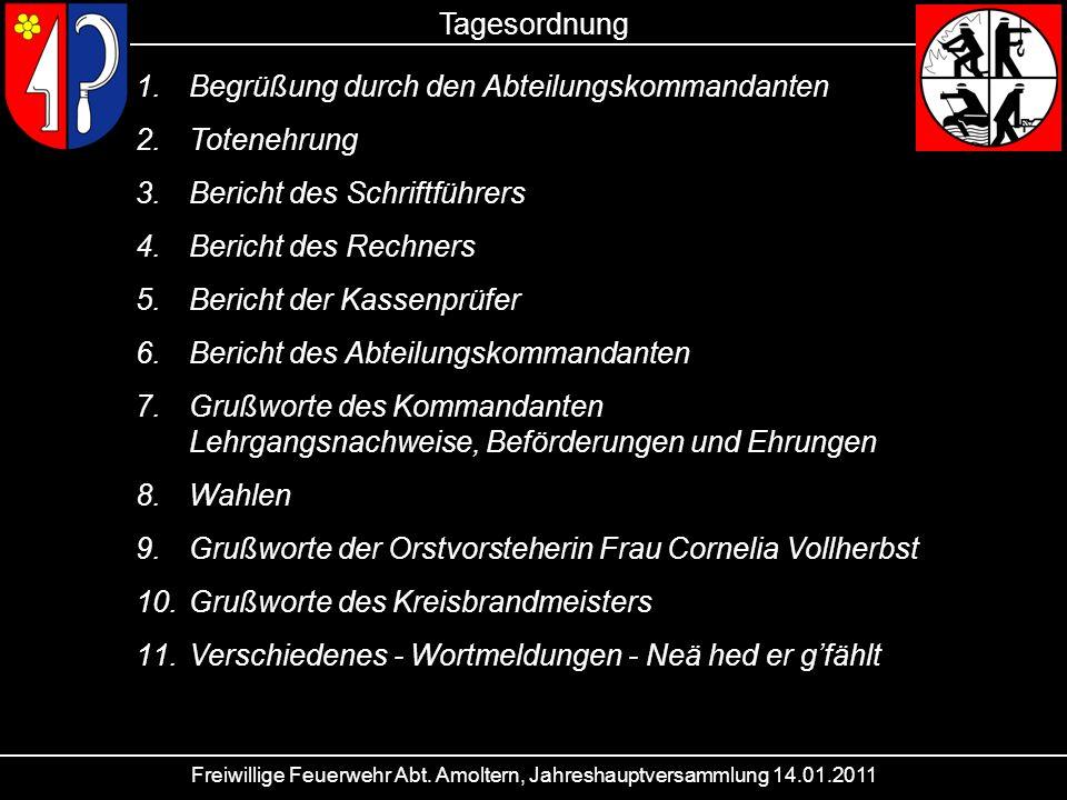 Freiwillige Feuerwehr Abt. Amoltern, Jahreshauptversammlung 14.01.2011