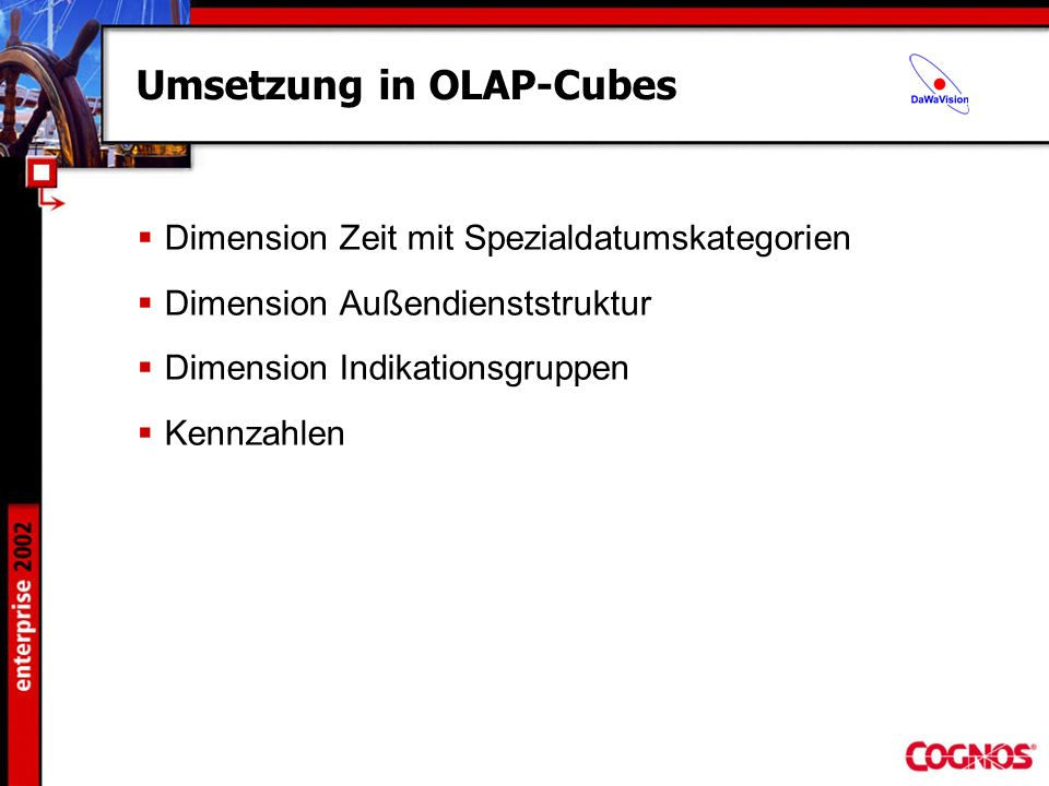 Umsetzung in OLAP-Cubes