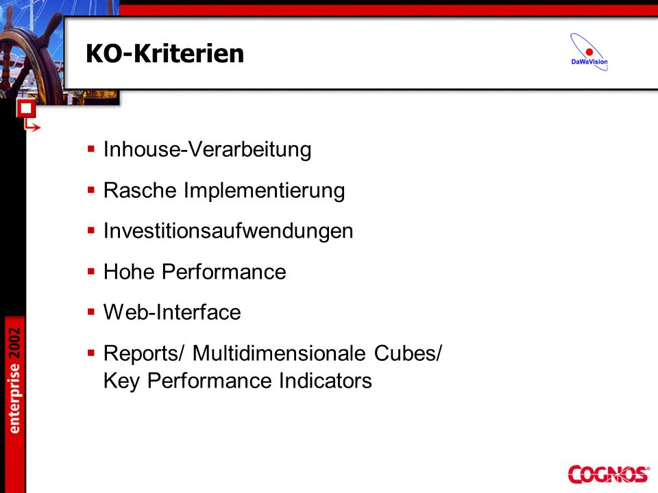KO-Kriterien Inhouse-Verarbeitung Rasche Implementierung