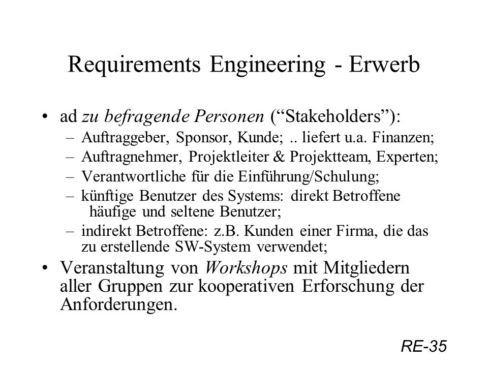 Requirements Engineering - Erwerb