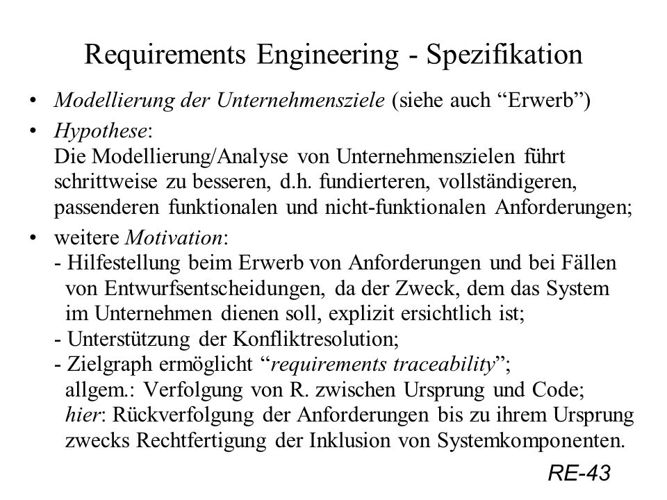 Requirements Engineering - Spezifikation