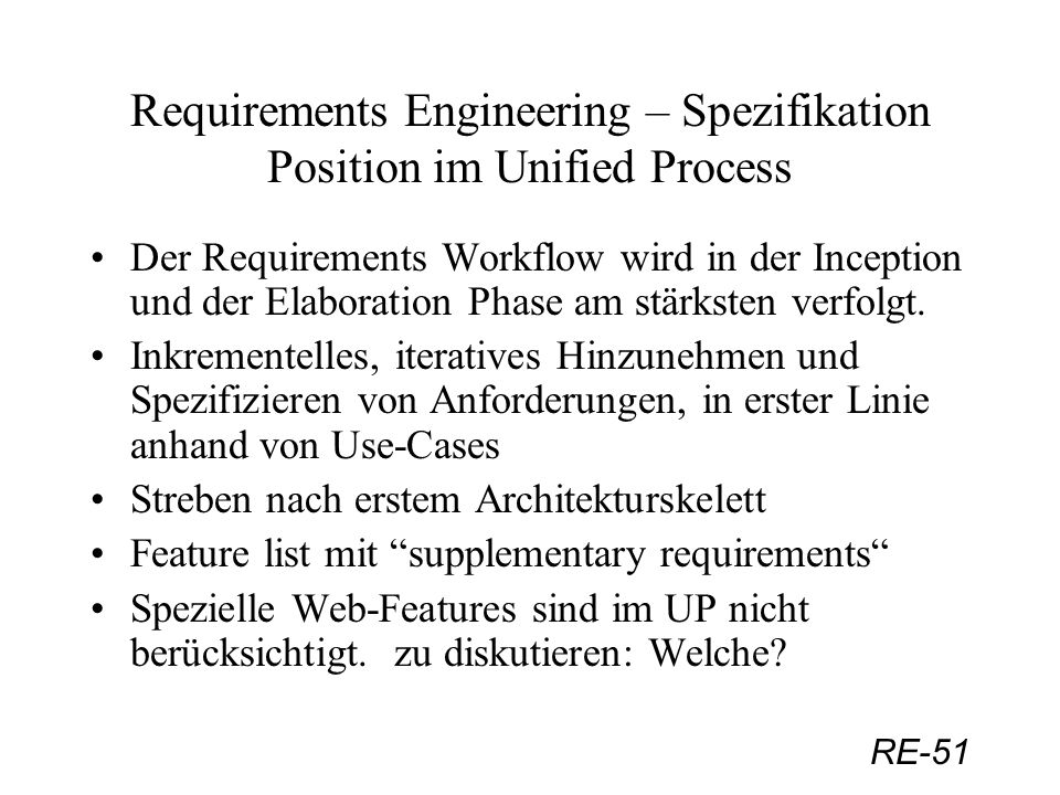 Requirements Engineering – Spezifikation Position im Unified Process