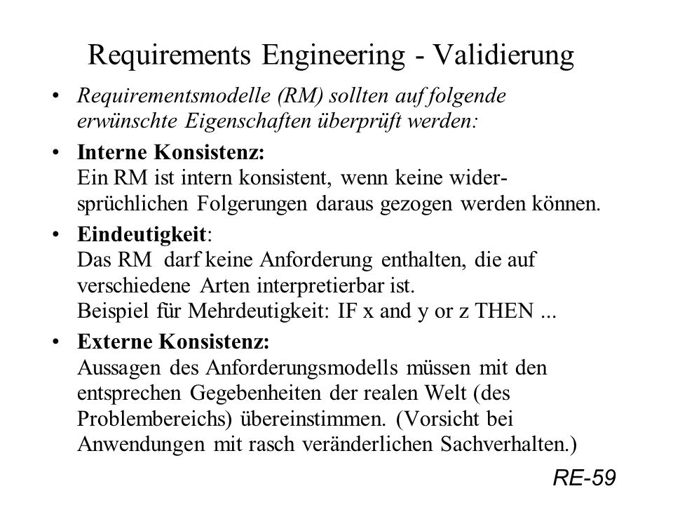 Requirements Engineering - Validierung