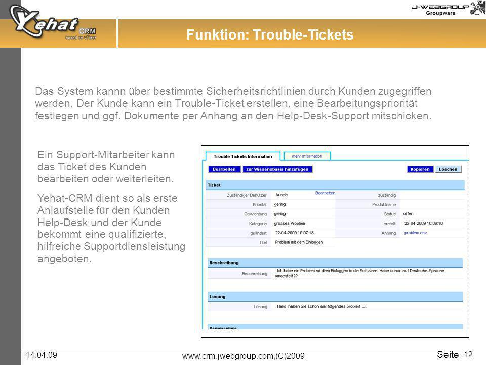 Funktion: Trouble-Tickets