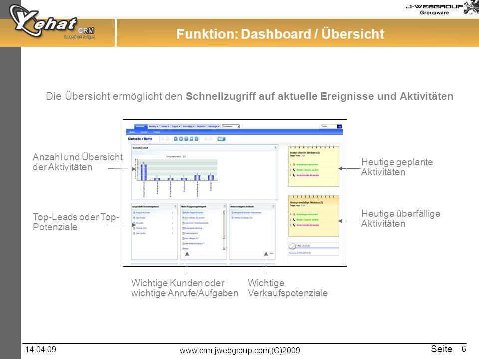 Funktion: Dashboard / Übersicht