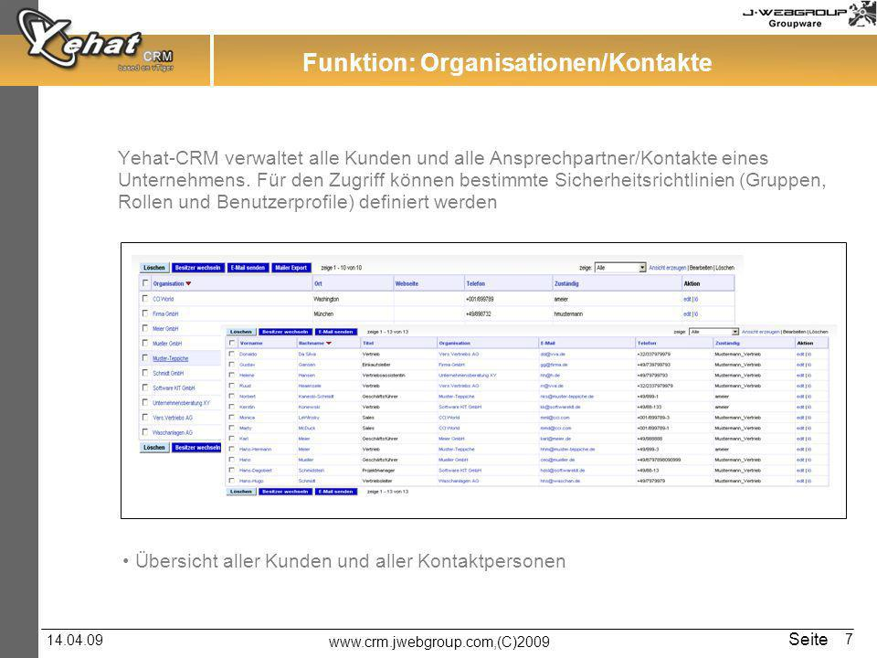 Funktion: Organisationen/Kontakte