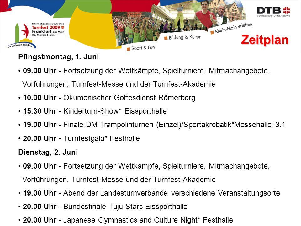 Zeitplan Pfingstmontag, 1. Juni