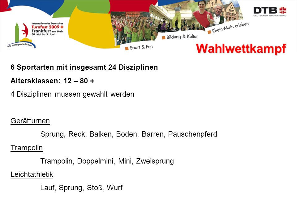 Wahlwettkampf 6 Sportarten mit insgesamt 24 Disziplinen