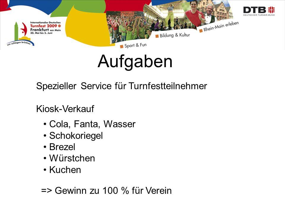 Aufgaben Spezieller Service für Turnfestteilnehmer Kiosk-Verkauf