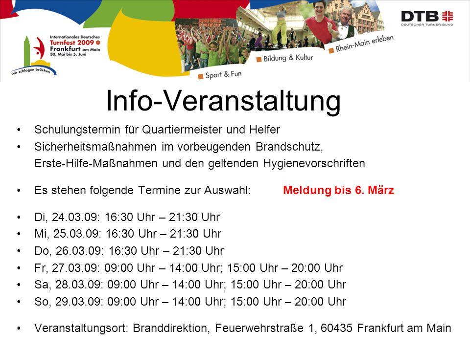Info-Veranstaltung Schulungstermin für Quartiermeister und Helfer