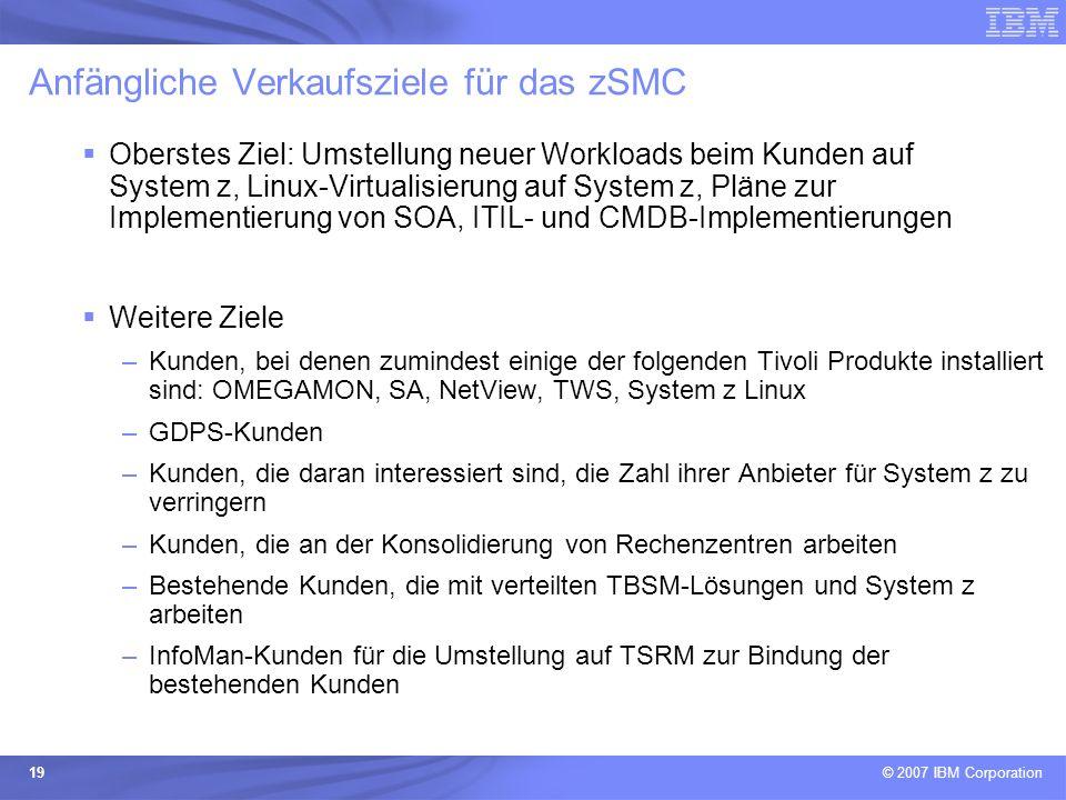 Anfängliche Verkaufsziele für das zSMC