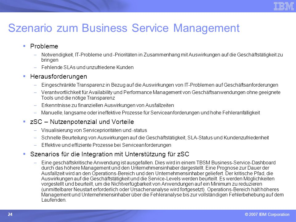 Szenario zum Business Service Management