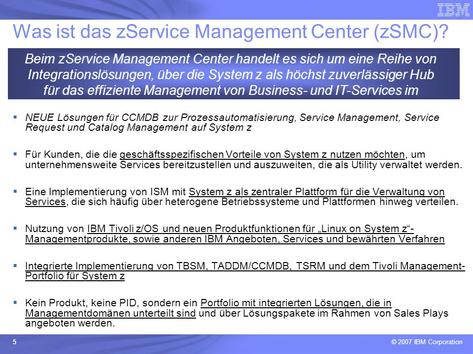 Was ist das zService Management Center (zSMC)