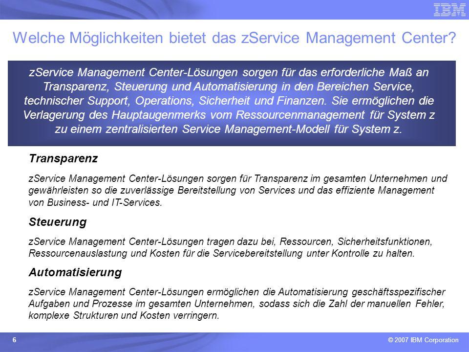 Welche Möglichkeiten bietet das zService Management Center