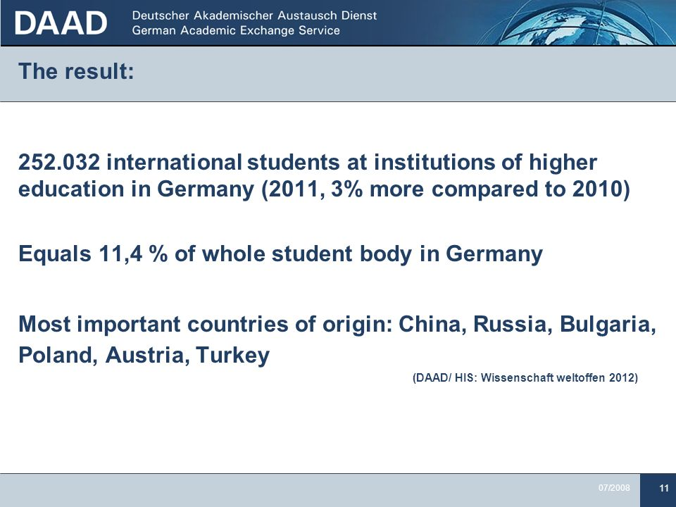 Equals 11,4 % of whole student body in Germany