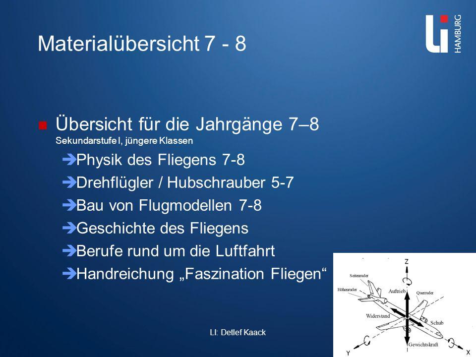 Materialübersicht 7 - 8 Übersicht für die Jahrgänge 7–8 Sekundarstufe I, jüngere Klassen. Physik des Fliegens 7-8.