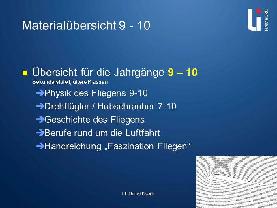 Materialübersicht 9 - 10 Übersicht für die Jahrgänge 9 – 10 Sekundarstufe I, ältere Klassen. Physik des Fliegens 9-10.