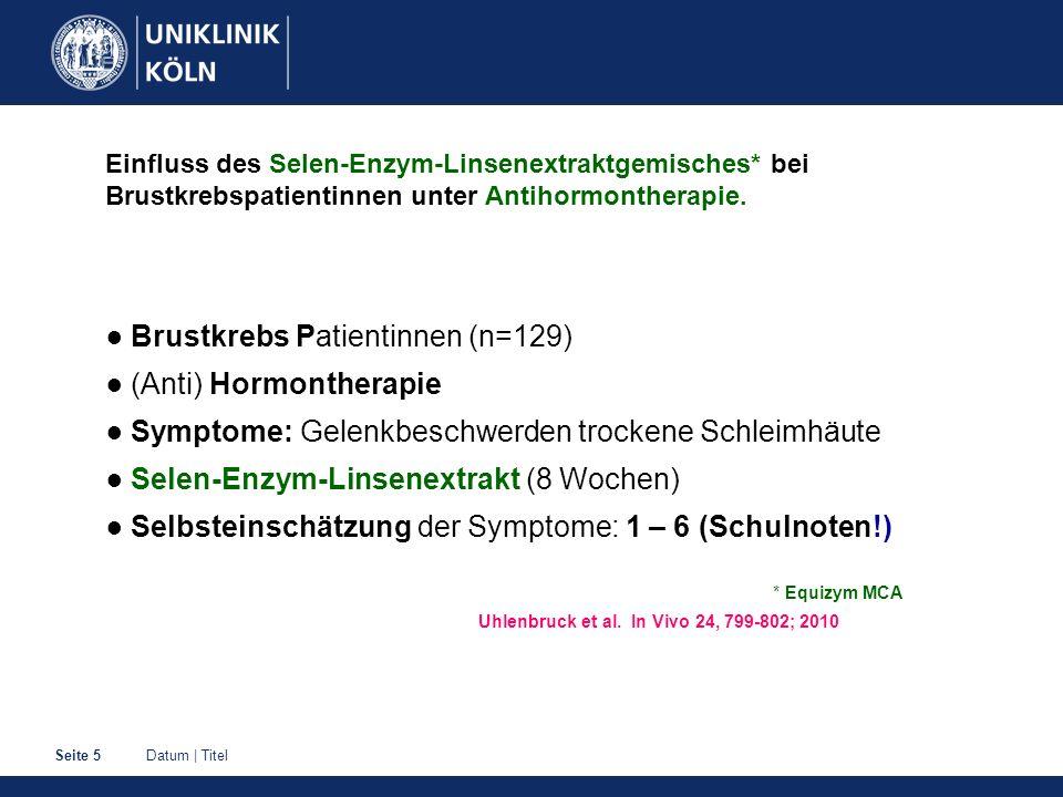 ● Brustkrebs Patientinnen (n=129) ● (Anti) Hormontherapie
