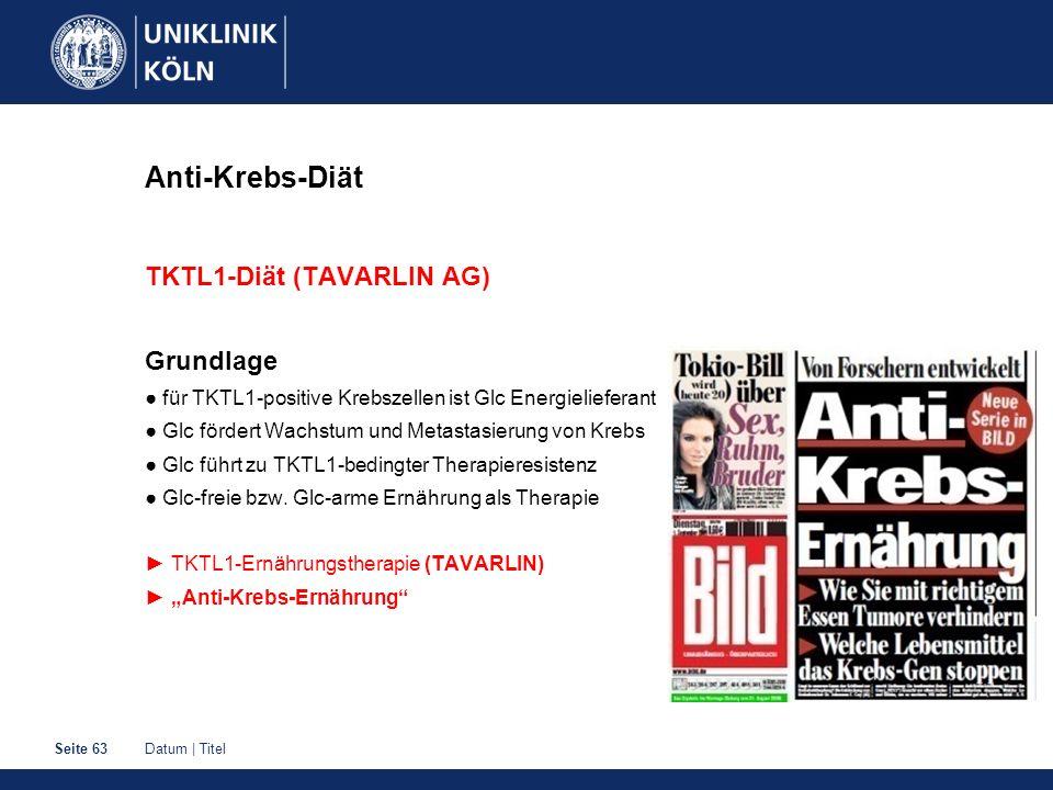 Anti-Krebs-Diät TKTL1-Diät (TAVARLIN AG) Grundlage